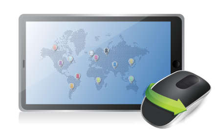 tablet and Wireless computer mouse isolated on white background