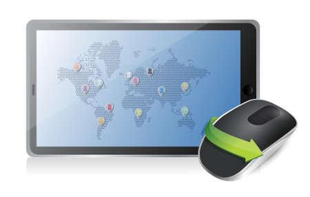tablet en de draadloze computer muis geïsoleerd op witte achtergrond