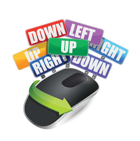input device: color signs and Wireless computer mouse isolated on white background