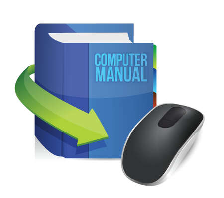 computer manual and Wireless computer mouse isolated on white background