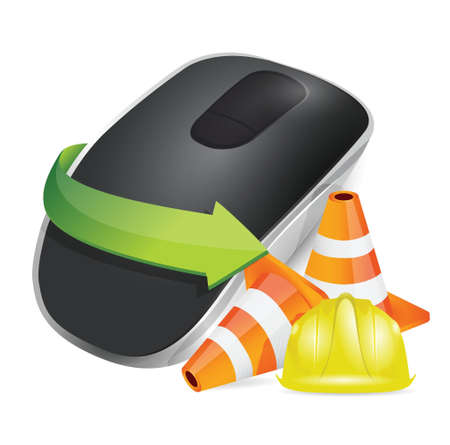input device: construction barrier and Wireless computer mouse isolated on white background