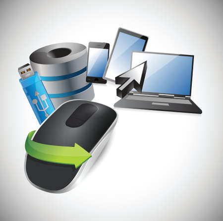 electronic background: electronic tools. Wireless computer mouse isolated on white background
