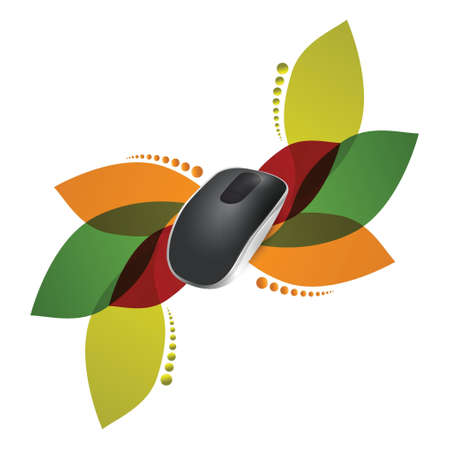 input device: floral design. Wireless computer mouse isolated on white background Illustration