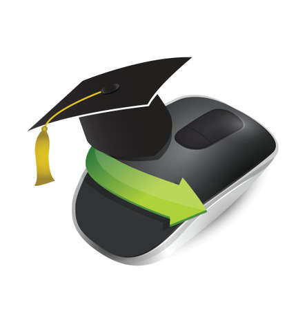 input device: online education. Wireless computer mouse isolated on white background Illustration