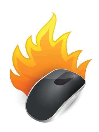 burning Wireless computer mouse isolated on white background Stock Vector - 18913063
