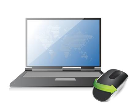 laptop and Wireless computer mouse isolated on white background 向量圖像