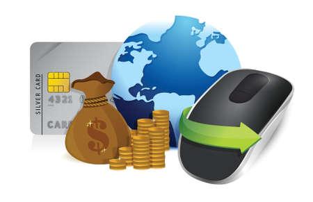 input device: international economy. Wireless computer mouse isolated on white background