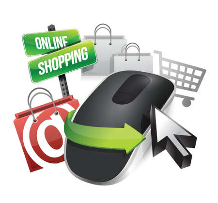international internet: online shopping concept and Wireless computer mouse isolated on white background