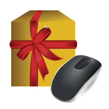 input device: gift box and Wireless computer mouse isolated on white background Illustration