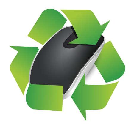 recycleren teken en draadloze computermuis geïsoleerd op witte achtergrond Stock Illustratie