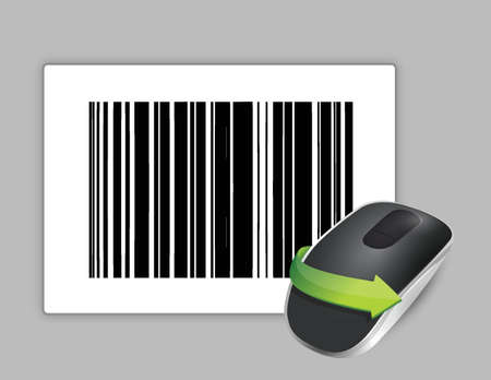 input device: upc code and Wireless computer mouse isolated on white background
