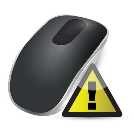 input device: warning sign Wireless computer mouse isolated on white background Illustration