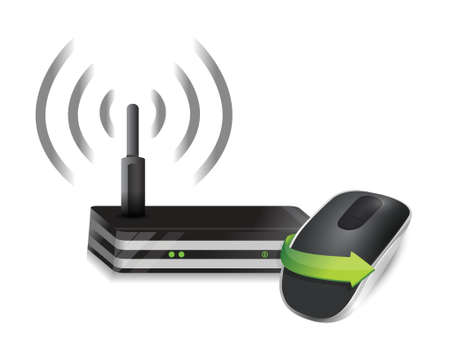 router and Wireless computer mouse isolated on white background Vector