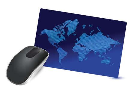 internationale verbinding Draadloze computermuis geïsoleerd op witte achtergrond