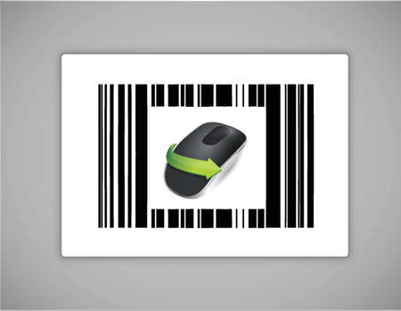 barcode and Wireless computer mouse isolated on white background Stock Vector - 18941978