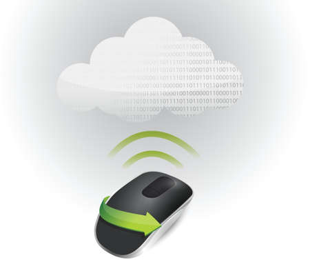connection signal and Wireless computer mouse isolated on white background Vector