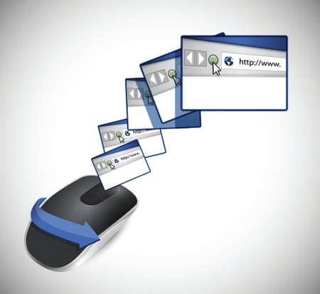 browsers en draadloze computermuis geïsoleerd op witte achtergrond Stock Illustratie