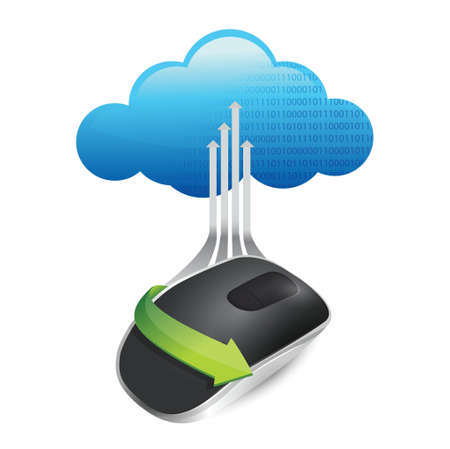 storage device: cloud computing concept. Wireless computer mouse isolated on white background