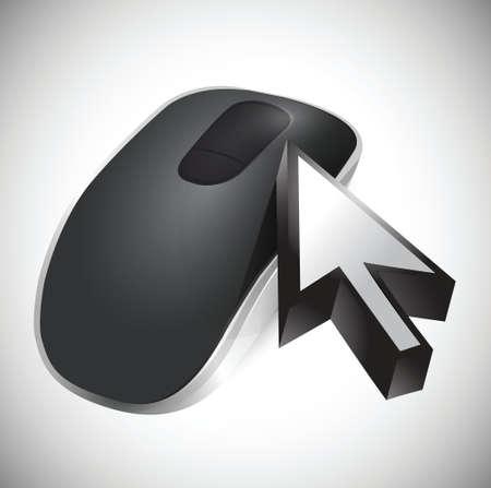 cursor en draadloze computermuis geïsoleerd op witte achtergrond Stock Illustratie