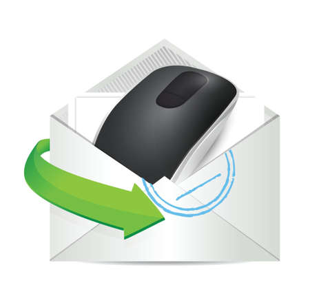 input device: envelope and Wireless computer mouse isolated on white background Illustration