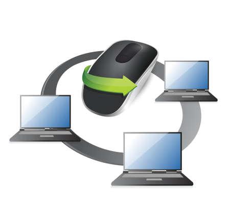 samenwerken Draadloze computermuis geïsoleerd op witte achtergrond