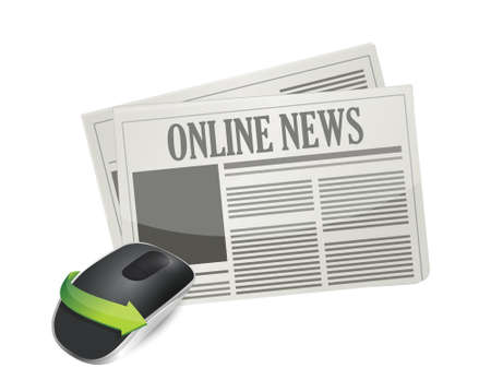 input device: online news concept. Wireless computer mouse isolated on white background