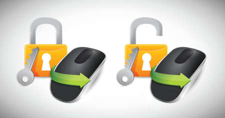 padlock Wireless computer mouse isolated on white background Stock Vector - 18965948