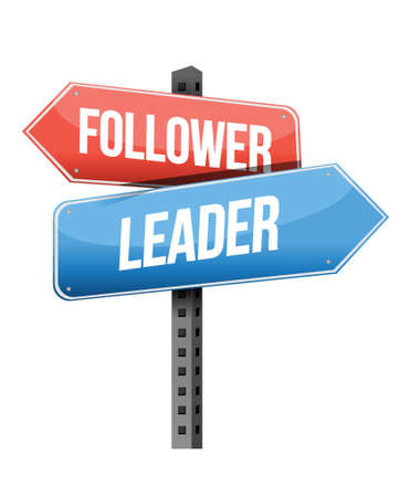 follower: follower, leader road sign illustration design over a white background Illustration