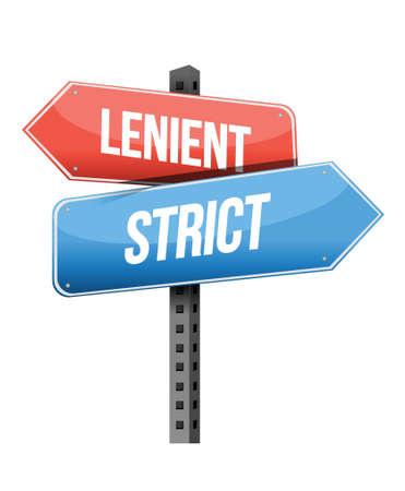 previews: lenient, strict road sign illustration design over a white background