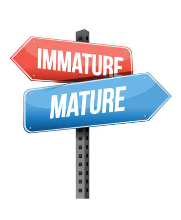 immature: immature, mature road sign illustration design over a white background Illustration