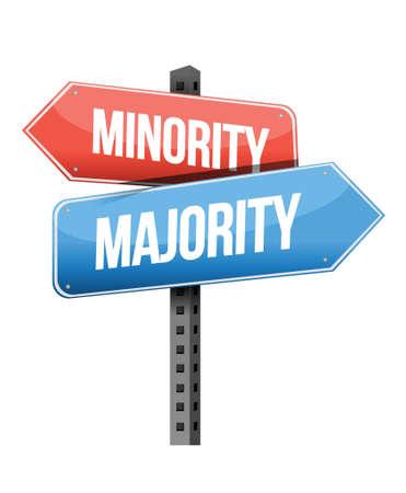 minority, majority road sign illustration design over a white background