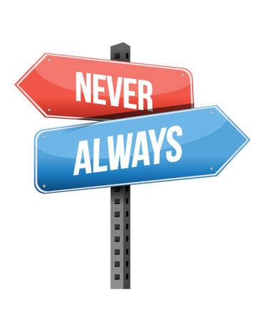 never versus always road sign illustration design over a white background