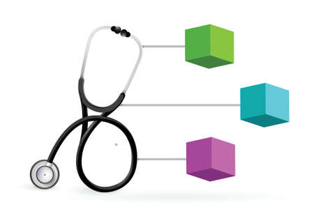 medical diagram with a Stethoscope illustration design over white Vector