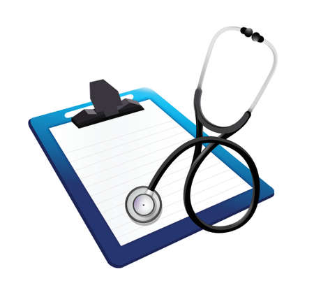 be ill: clipboard with a Stethoscope illustration design over white