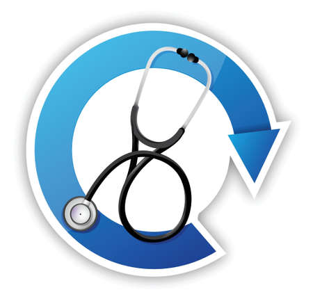 medical symbol with a Stethoscope illustration design over white Stock Vector - 18995406