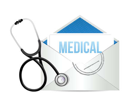 stethoscope heart: mail form a doctor with a Stethoscope illustration design over white Illustration