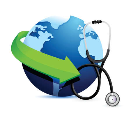 sick people: international medicine concept with a Stethoscope illustration design over white