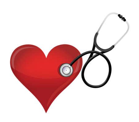 estetoscopio corazon: Concepto de salud del corazón con un diseño ilustración estetoscopio sobre blanco Vectores