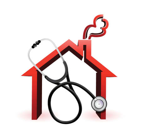 suffering: real estate concept with a Stethoscope illustration design over white
