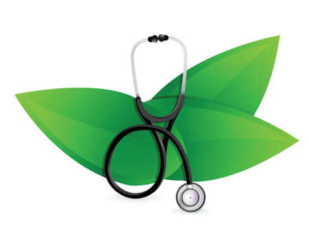 natural medicine concept with a Stethoscope illustration design over white