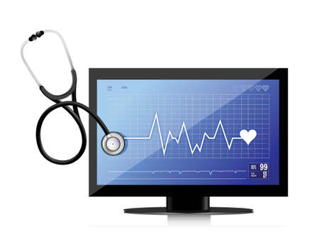 modern medical app flat screen with a Stethoscope illustration design over white Stock Vector - 18995497