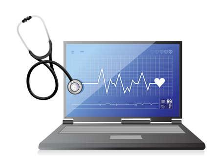 lifeline: modern medical app laptop with a Stethoscope illustration design over white
