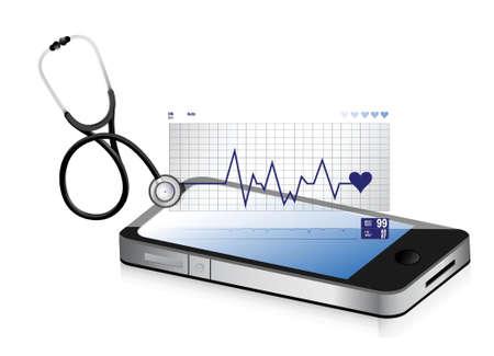 medical technology: modern medical app smartphone with a Stethoscope illustration design over white
