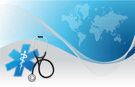 medical equipment: world map background internet concept with a Stethoscope illustration design over white