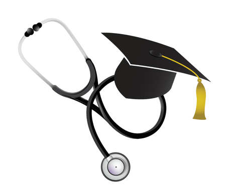 hat graduate: medicine education concept with a Stethoscope illustration design over white