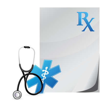 medical prescription with a Stethoscope illustration design over white Stock Vector - 18995587