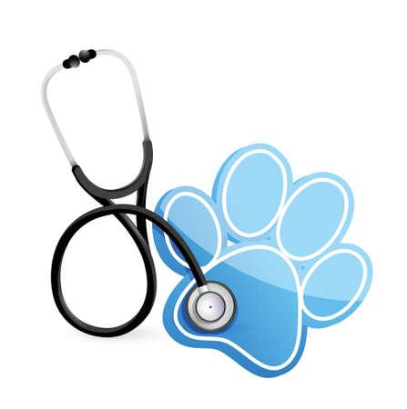 獣医師白で聴診器のイラスト デザイン コンセプト  イラスト・ベクター素材