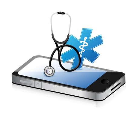 medical equipment: medical app with a Stethoscope illustration design over white Illustration