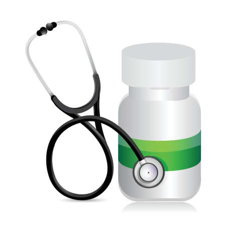 pills jar with a Stethoscope illustration design over white