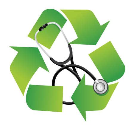 environmentally friendly: recycle sign with a Stethoscope illustration design over white